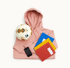 Choose Love supplies for children, including a sweatshirt, books, phone and football funded by Kin and Castle Choose Love charity art print