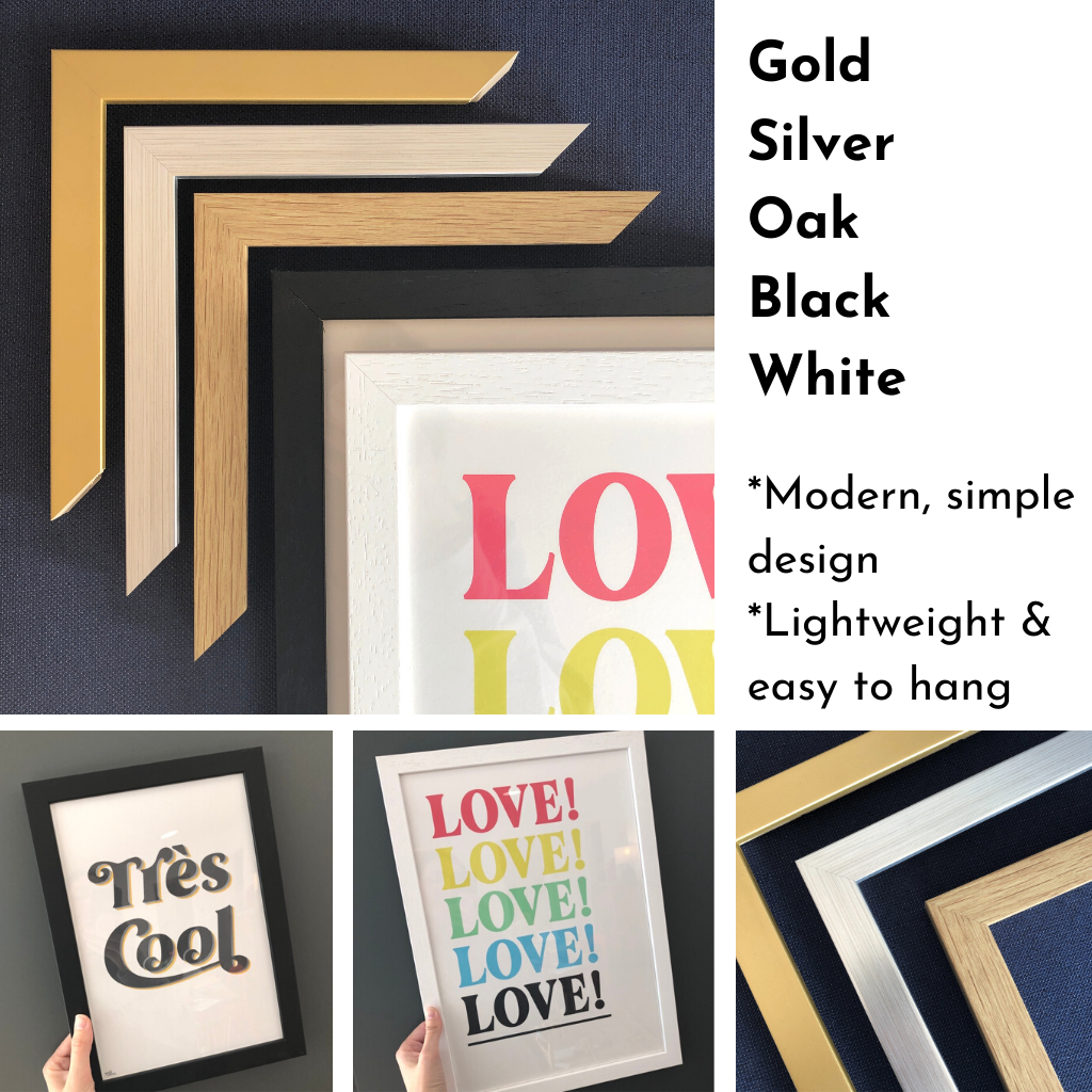 Kin and Castle art print framing options - white, black, oak, gold and silver frames available