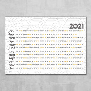 Wall Planner  - 3D Geometric design (graphite & mustard)