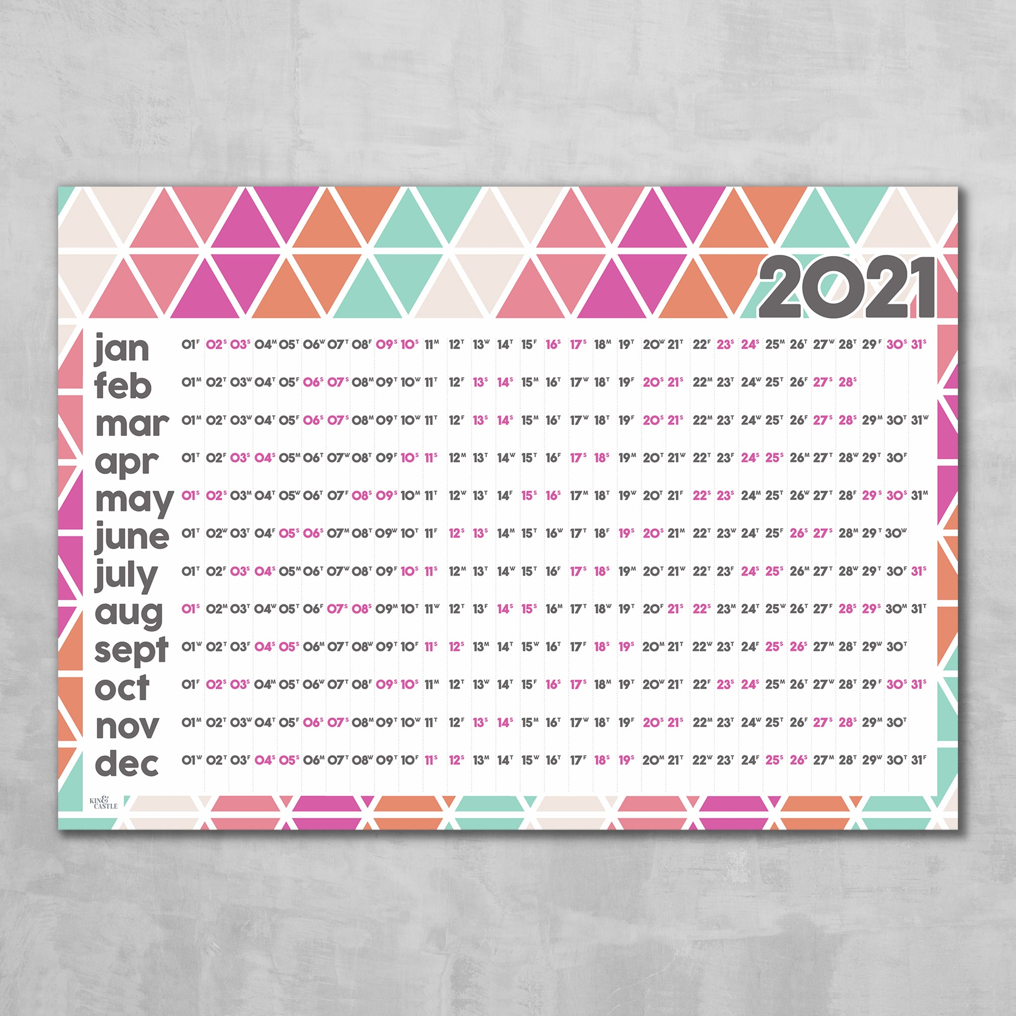 Wall Planner  - Geometric Triangles design (pink candy)