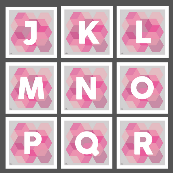 Geometric Monogram Letter Art Print - Pinks (210mm2)