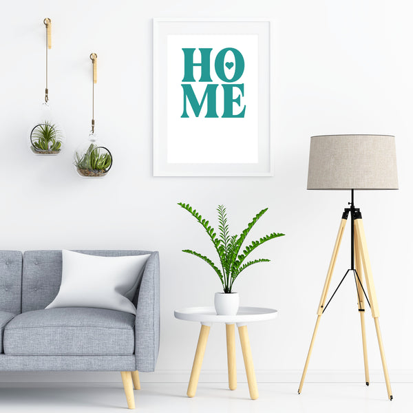 Home Art Print (myrtle green on white)