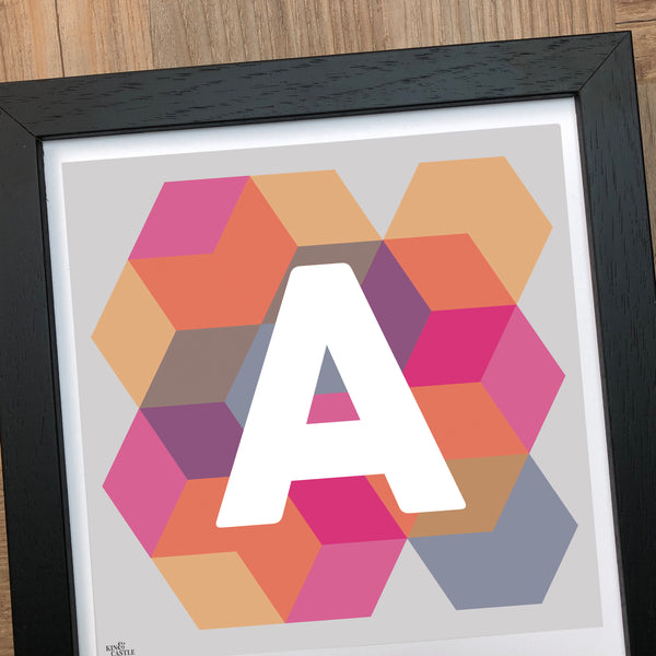 Geometric Monogram Letter Art Print - Pinks, Yellows and blues (210mm2)
