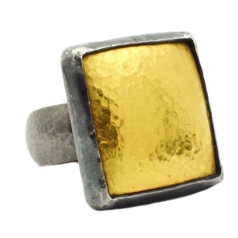Gurhan gold square ring on oxidized band