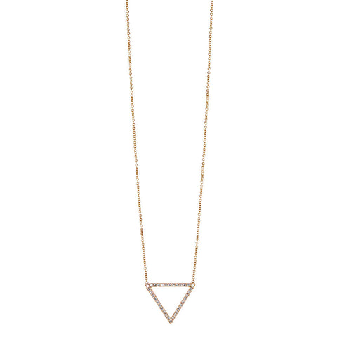 Open Triangle Necklace with Diamonds