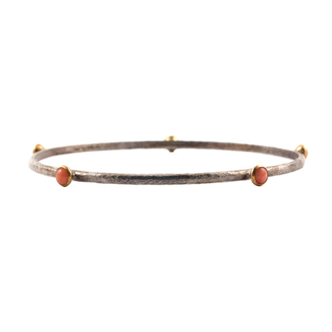 Gurhan 'Skittle' bangle with coral and dark silver, size medium