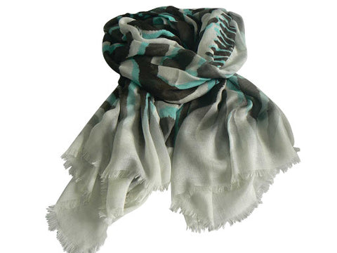 Black, White and Turquoise Scarf