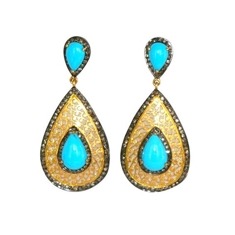 Sleeping Beauty Turquoise, Gold and Diamond Earrings