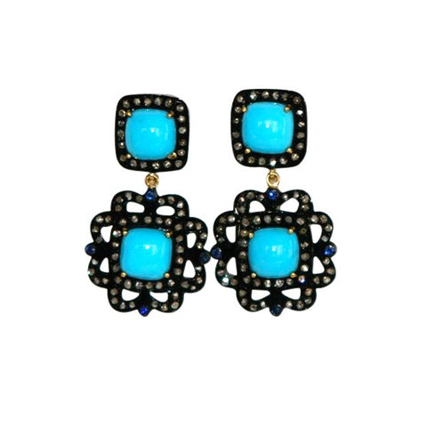 Sleeping Beauty Turquoise, Pave Diamond and Sterling Earrings