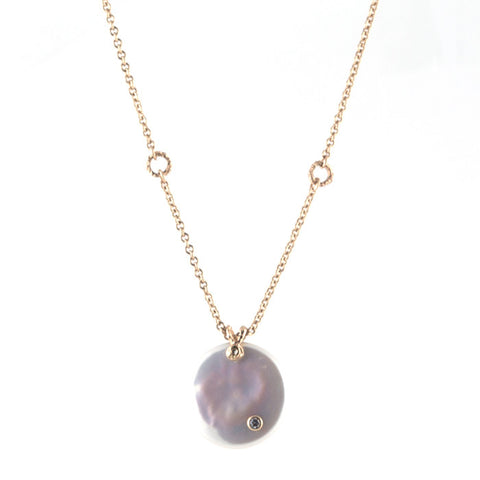 Jamie Joseph white biwa pearl pendant on gold chain