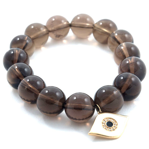 Sydney Evan smoky quartz beads with enamel evil eye charm