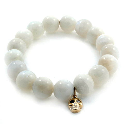 Sydney Evan gold skull charm on white moonstone beads