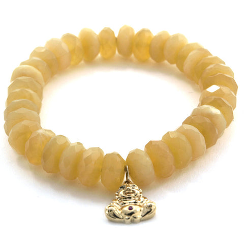 Sydney Evan yellow opal bead bracelet with gold buddha charm