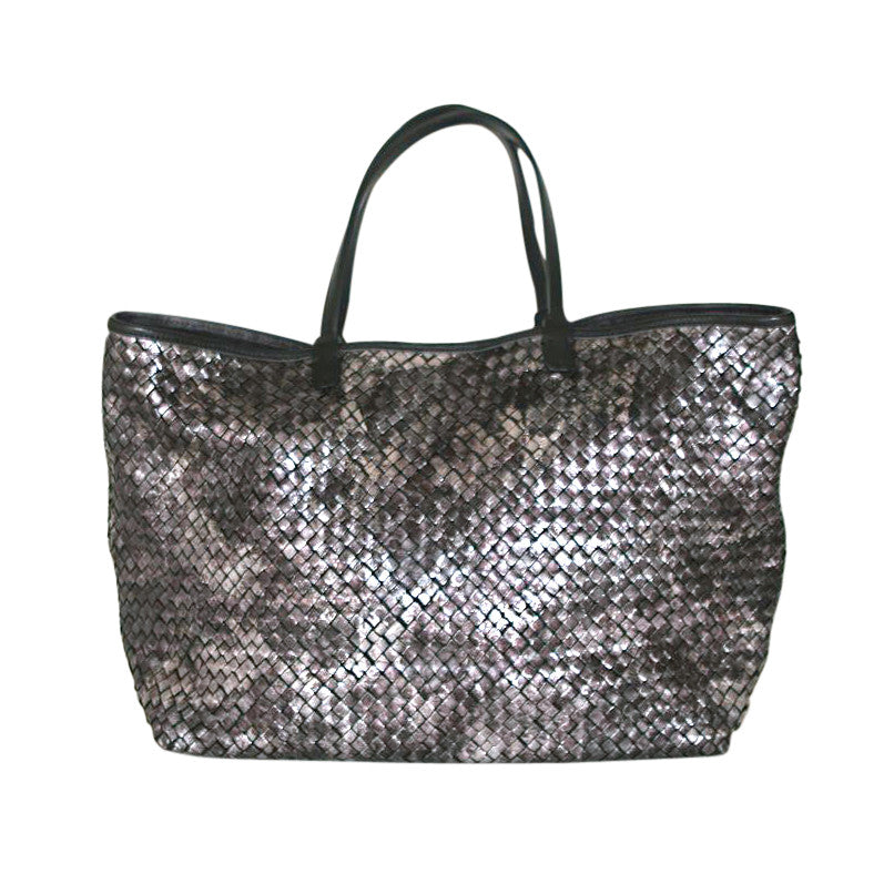 54b8988691 Massimo Palomba - Black Metallic Woven Tote - Shop Now! (Massimo ...