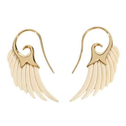 Wing Earrings in Gold and Mammoth Ivory