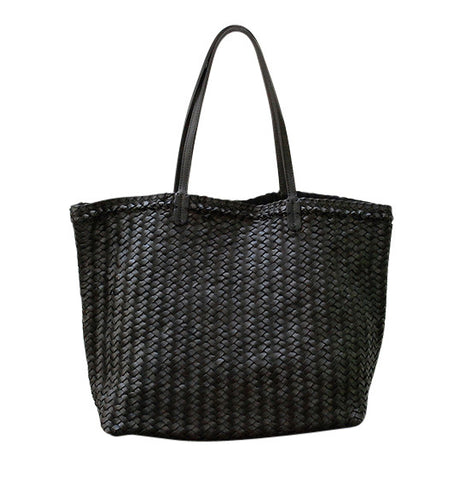 "Handwoven Black 'Linda"" Marrakesh Tote"