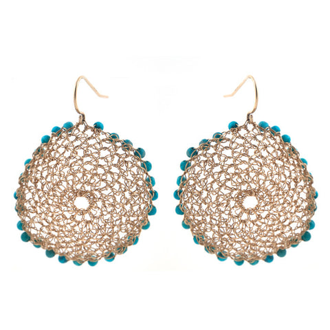 Crocheted Turquoise Earring