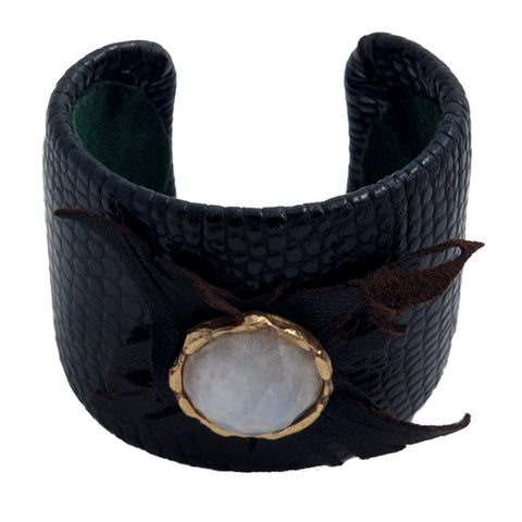 Beth Orduna leather cuff with moonstone