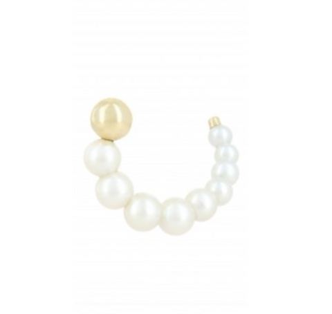 White Pearl and Yellow Gold Escargot Earring