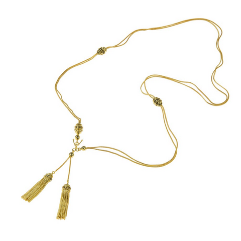 Lariat in Antique Gold with Tassels