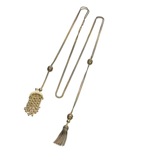 Lariat with Charm and Tassel Detail