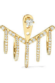 5 Creoles Gold and Diamond Ear Jacket