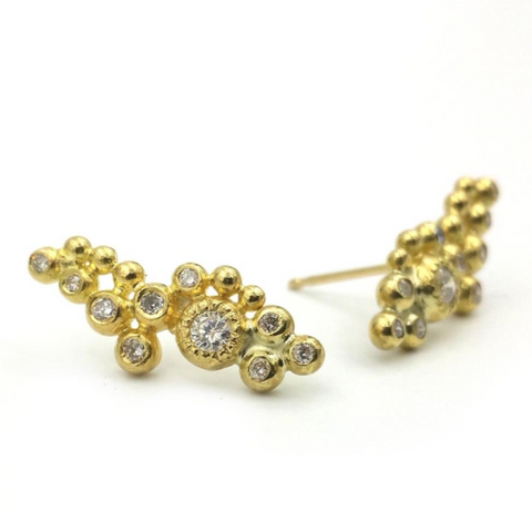 Gold and Diamond Freeform Studs