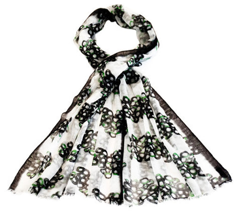 Black, White and Green Print Scarf