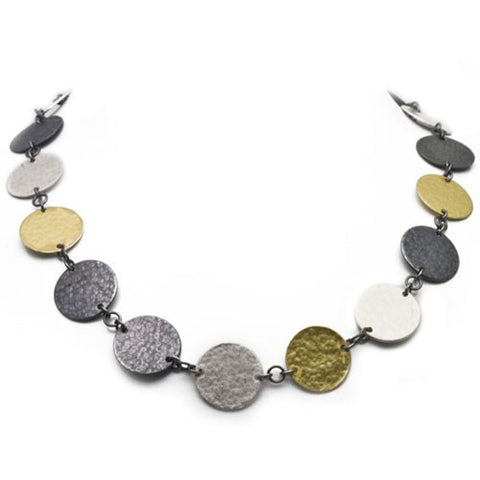 Gurhan flat round disc choker in gold, light and dark silver