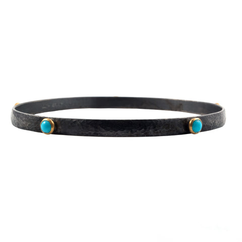 Gurhan turquoise and dark silver bangle