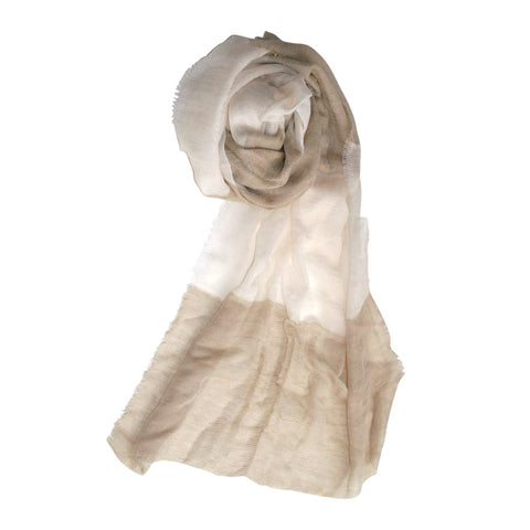 Beige and Cream Striped Scarf