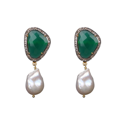 Emerald and Baroque Pearl Earring