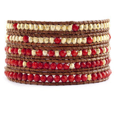 Red Coral and Gold Wrap Bracelet