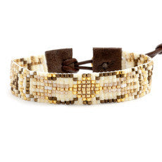 Narrow Beaded Bracelet in Gold and Beige