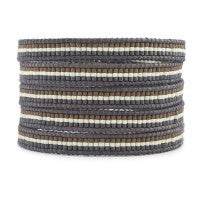 Gray Mix Stripe Wrap Bracelet
