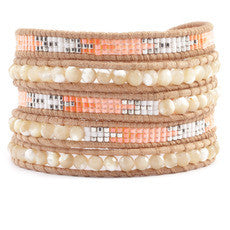 5 Wrap Bracelet in Beige, Mother of Pearl and Salmon
