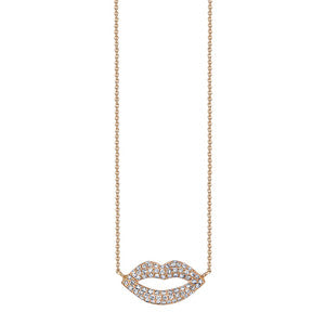 18k Gold and Diamond Lips necklace