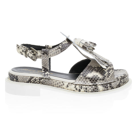 Coco Fringed Sandal in Snake Print