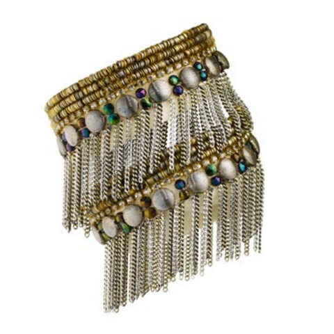 Double Wrap Woven Bracelet with Fringe and Mixed Stones
