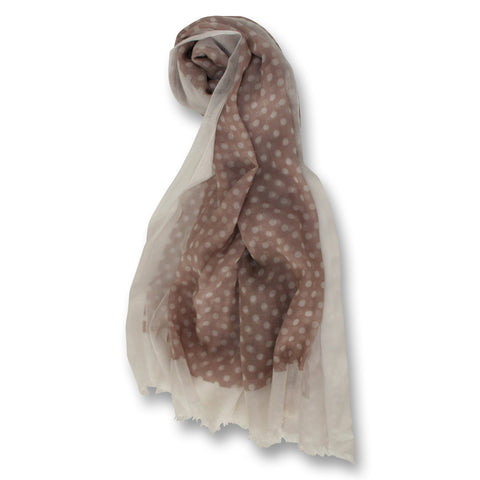 Polka Dot Scarf in Beige and White