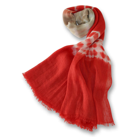 Tie Dye Scarf in Red, White and Beige