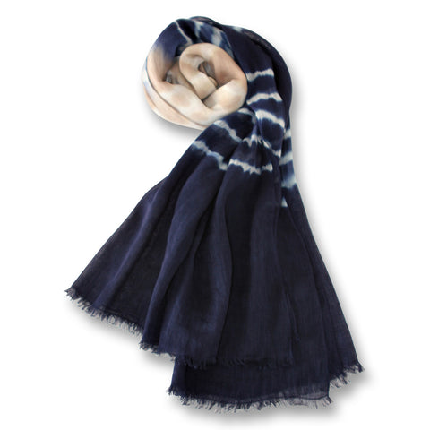 Tie Dye Scarf in White, Beige and Blue