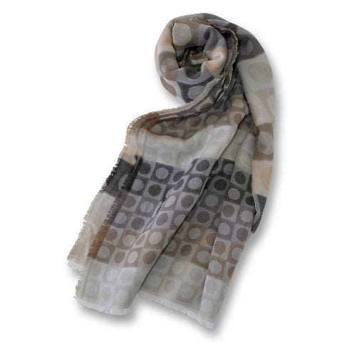 Circle and Square Scarf in Neutral Colors
