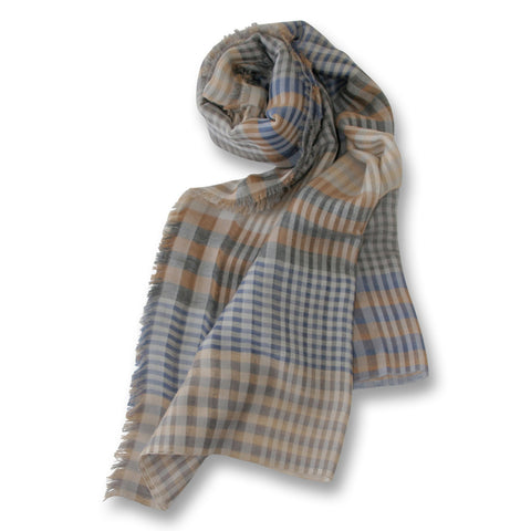 Plaid Scarf in Blue and Beige