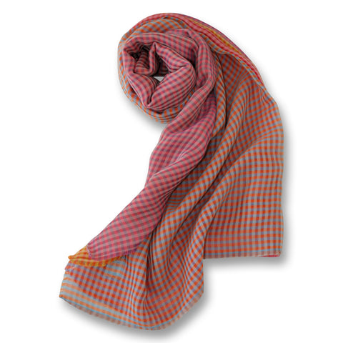 Mixed Color Gingham Scarf in Brights