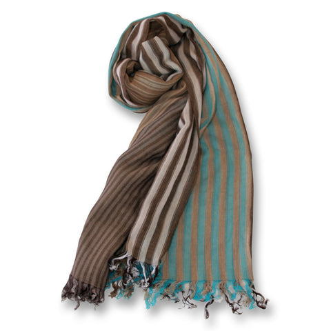 Capucin Mixed Striped Scarf in Turquoise and Browns