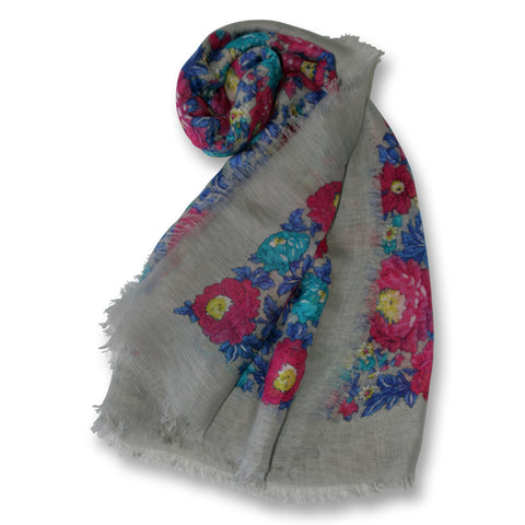 Bright Floral Scarf on Soft Gray