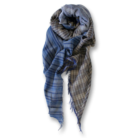 Patchwork Plaid Scarf in Mixed Blue Plaids