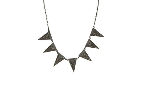 Diamond and Sterling Triangle Necklace