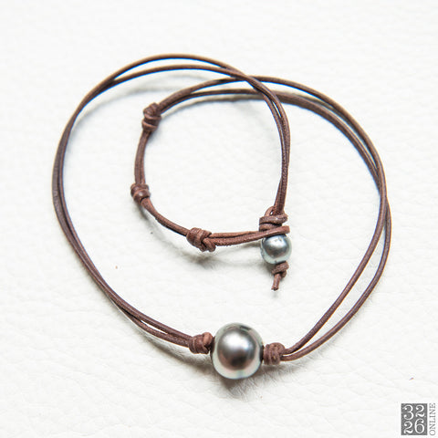 Tahitian Pearl and Leather Choker